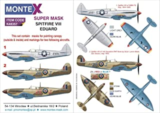 Montex Super Mask 1:48 Spitfire VIII for Eduard Kit Spraying Stencil #K48357