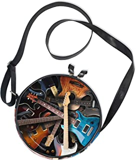 Ahomy Umhängetasche, Vintage, Retro, E-Gitarren, Damen, runde Tasche, für Kinder