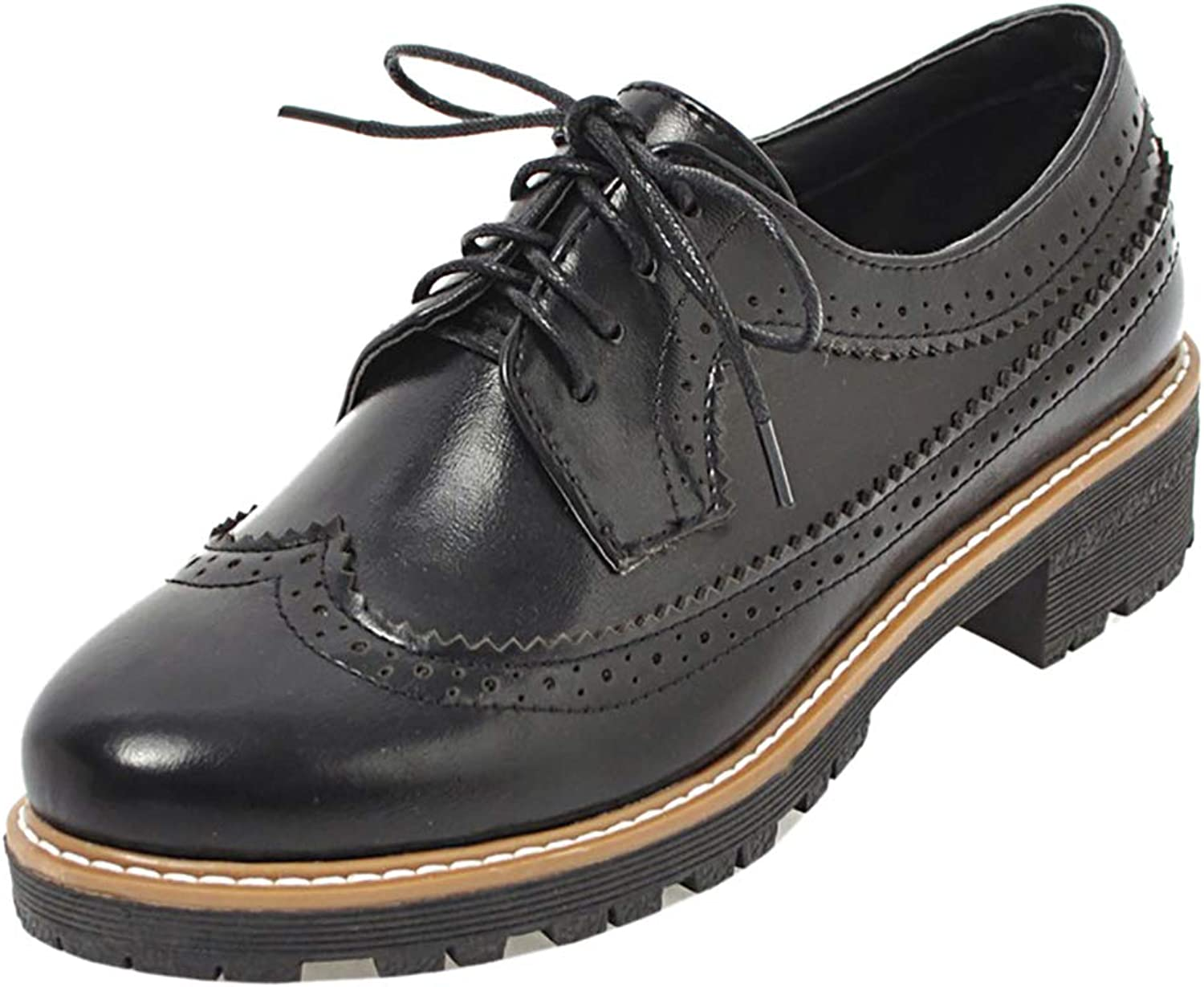ELEEMEE Women Retro Brogue Oxfords Lace Up