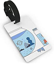BJtiananmen Unisex Premium Luggage Tags With Hand Strap Fishtank Luggage Bag Tags Travel ID Identification Labels Set for Bags & Baggage Luggage Tag