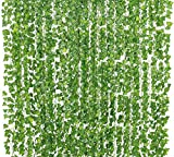 Yatim 78-Ft 12 Pack Artificial Plants Greeny Chain Wall Hanging Leaves for Home Room Garden Wedding Garland Outside Decoration
