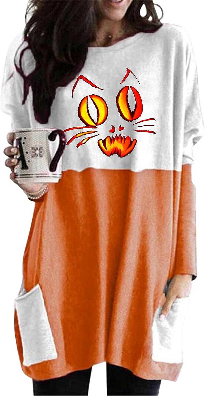 felwors Womens Halloween Sweatshirt, Womens Oversized T Shirts with Pockets Loose Long Sleeve Pumpkin Cat Print Tops