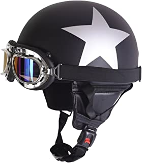 Fatmingo German Style Half Helmet with Goggles for Motorcycle Biker Cruiser Scooter Cool Harley Helmet(Black with white star)