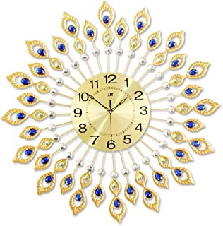 Wall clock for living room silent, Creative Peacock Wrought Iron Art Mute No Ticking Battery-Powered Clock, for Home Decor...