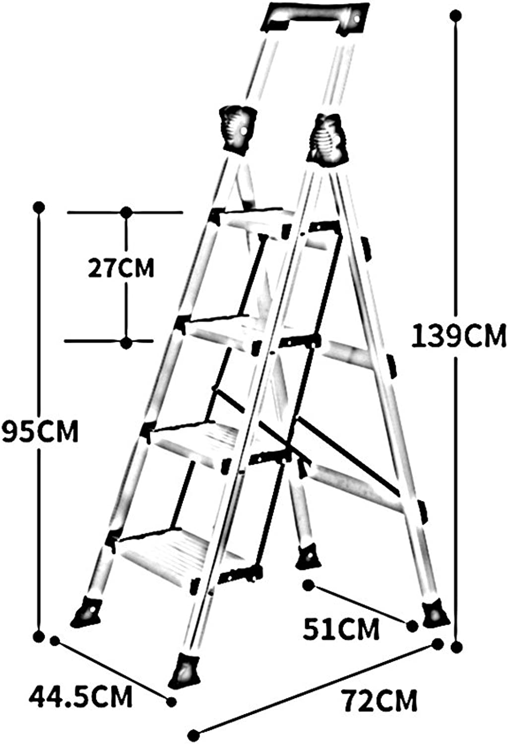 FFLSDR Step Stool Aluminum Alloy Multifunction Folding Ladder Household Thickening Mobile Extension Ladder (color   Silver)
