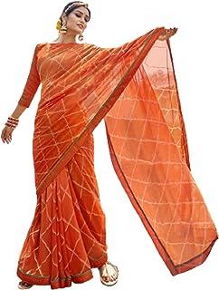 فستان نسائي هندي برتقالي لحفلات الاحتفالية طراز كوكتيل جورجيت ساري مع بلوزة مصمم بأسلوب فاخر 6051