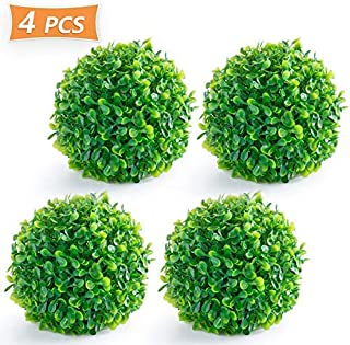 Timoo Boxwood Ball, 4 Pack Fuax Boxwood Decorative Balls Artificial Topiary Plant for Table Decoration, Backyard, Garden, Wedding Decor and Home Decor, 6 Inches