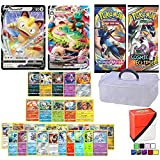 Totem World Pokemon Cards Sword & Shield V & VMax Gigantamax Lot with 1-Tier Clear Storage Card Case, 2 Booster Packs, 5 Rares, 5 Holos, 20 Regular Pokemon Cards, and 1 Deck Box