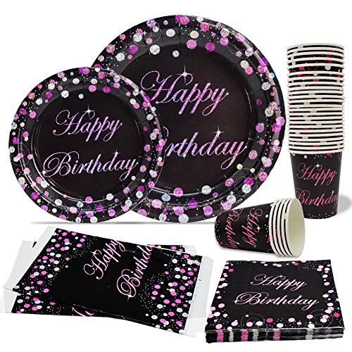 Black and Pink Birthday Party Plates for Women Birthday Plates and Napkin Tablecover Set for Milestone Birthday Kit, Anniversary Birthday Tableware Pack