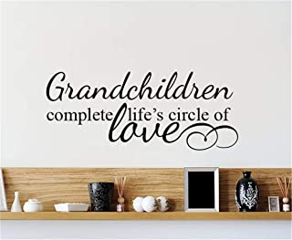 friari Quotes Art Decals Vinyl Removable Wall Stickers Grandchildren Complete Life's Circle of Love for Living Room Bedroom
