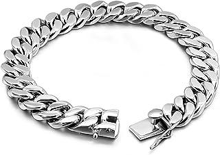 Fashion 925 Sterling Silver Solid Miami Cuban Link Chain Bracelet 8MM - 16MM- Curb Cuban Bracelet Solid Thick Big Link Bra...