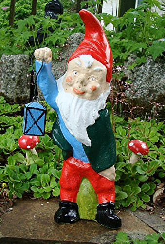 Pixieland Traditional Garden Gnome Ornament ~ Oliver with Lantern ~ Handmade in the UK