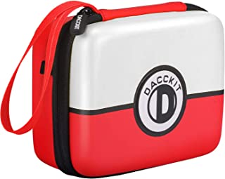 D DACCKIT Carrying Case for Pokemon Trading Cards, Fits Up to 400 Cards, Card Holder with Hand Strap & Carabiner(Red and W...