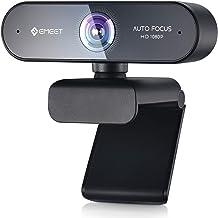 Webcam with Microphone – Autofocus Webcam Nova 96° View Portable Webcam 1080P w/2 De-Noise Mics, Plug & Play USB Webcam wi...