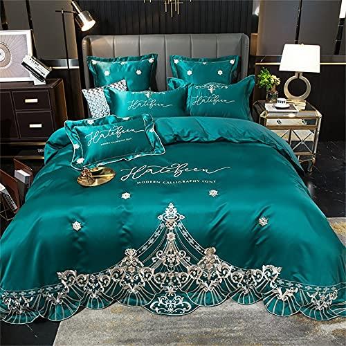 Flamingred Funda de edredón de 4 piezas bordada de seda de algodón de estilo europeo, verde, cama de 1,5 m