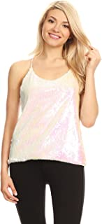 Womens Sequin Spaghetti Strap Crop Camisole Tank Top, Matte or Shiny