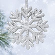 "BANBERRY DESIGNS Large White Glittered Snowflakes - Set of 6 Foam Snowflake Ornaments with White Ribbon - Approximately 9""..."