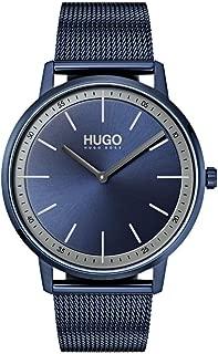 Hugo Men's #Exist - Ultra Slim Quartz Blue IP and Blue IP Mesh Bracelet Casual Watch, Blue, 1520011