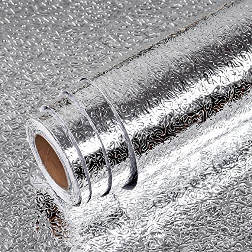 LaCheery Kitchen Oil Proof Waterproof Sticker Stainless Steel Contact Paper Aluminum Foil Stickers Kitchen Backsplash Peel and Stick Countertops for Kitchen Wall Cabinets Shelf Drawer Liner 11.8
