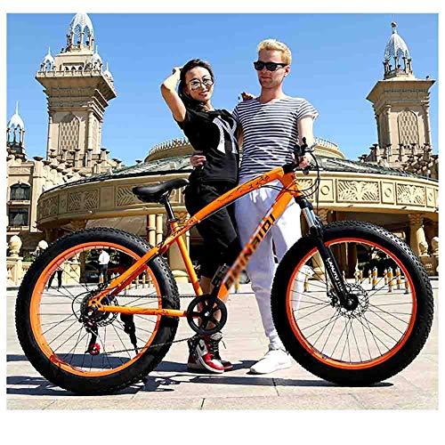 SOAR Mountain Bike MTB Bici Adulta Beach motoslitta Biciclette Mountain Bike for Uomo e Donna 26in Ruote Regolabile velocità Doppio Freno a Disco (Color : Orange, Size : 24 Speed)