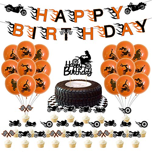 Motorcycle Birthday Party Supplies, 76 Pcs Motorcycle Party Decorations, Include Motorcycle Banner, Latex Balloons, Cupcake Toppers, for Racing Car Dirt Bike Motocross Sports Themed Party Decorations