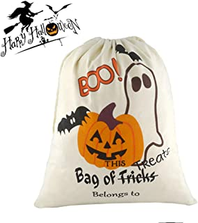 Halloween Personalized Bag Large Trick or Treat Candy Sack Bags Ghost Pattern Drawstring Bag, 13x17