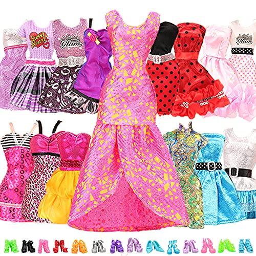 Miunana 22 Kleidung Zubehör für Puppen = 12 Kleider Kleidung Partymode Fashionistas mit 10 Paar Schuhe für 11,5 Zoll Mädchen Puppen