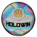 HOLOWIN Holographic Luminous Soccer Ball for Night Games & Training, Glowing in The Dark Light Up Reflective with Camera Flash Reflects Light Toy Gifts for Boys, Kids, & Men (Size 5) (Size 5, Black)