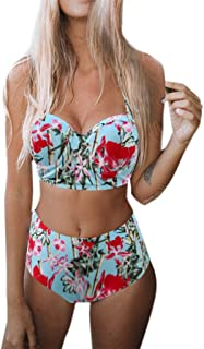 UOKNICE Swimwear for Womens, Sexy Swimming Padded Push-up Bra Hight Waist Set Swimsuit Bathing Suit Swimsuits Bikini