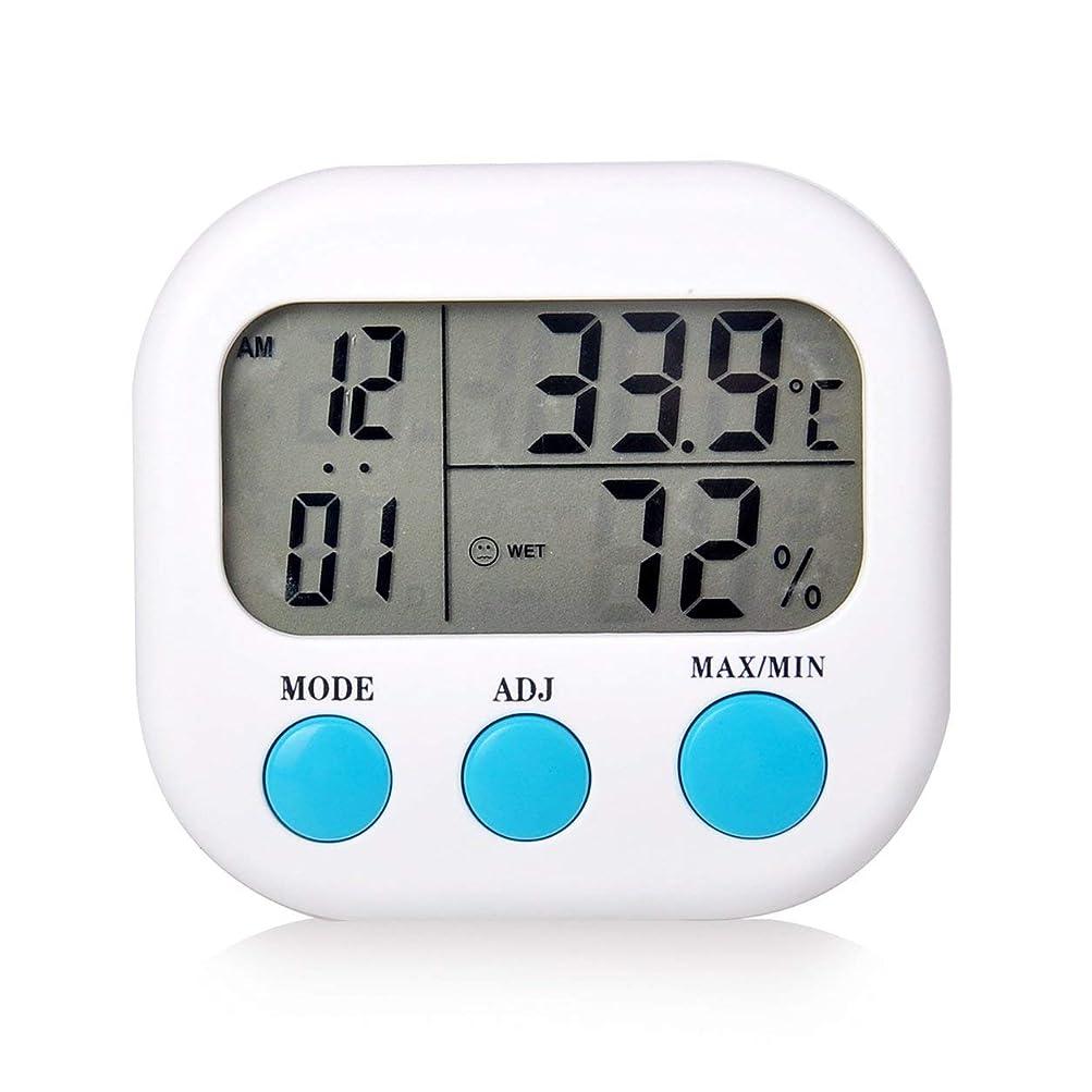 免疫する迅速帽子Saikogoods 電子体温計湿度計 デジタルディスプレイ 温度湿度モニター アラーム時計 屋内家庭用 白