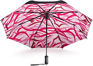 Smart with Sunscreen Black Umbrella Double Folding Umbrella Umbrella UV Sun Umbrella Huhero (Color : Pink)