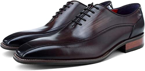 XWQYY zapatos de Vestir de Negocios zapatos de Oxford de Color de Cuero Hechos a Mano para Hombre de Inglaterra Casual,Coffee-41EU