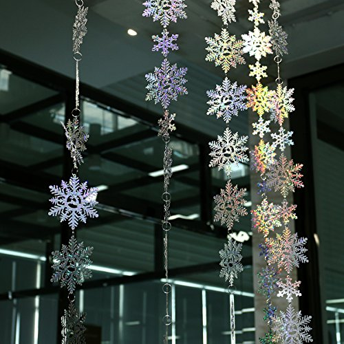 LUOEM 6 Pack Merry Christmas Snowflake Ornaments Christmas Hanging Signs Hologram Glitter Snowflakes for Winter Party Decorations