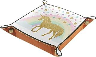 FCZ Plateau de rangement en cuir avec motif licorne, arc-en-ciel, étoiles, boîte de rangement pour bijoux, clés, portefeui...