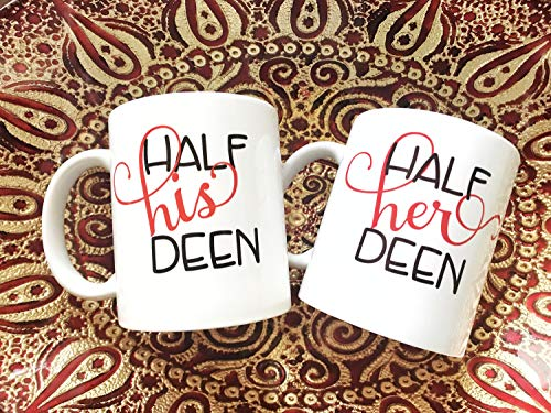 Half Zijn Deen Half Haar Deen Koffie Mok Set met Naam Optie Eid Gift Ramadan Gift Bruids Douche Islamitische Moslim Gift Moslim Bruiloft