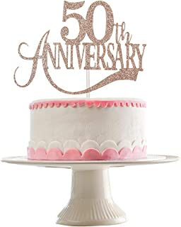 Rose Gold Glittery 50th Anniversary Cake Topper,50th Birthday Party Decorations,50th Wedding Anniversary Party Decorations,Anniversary Party Cake Decor