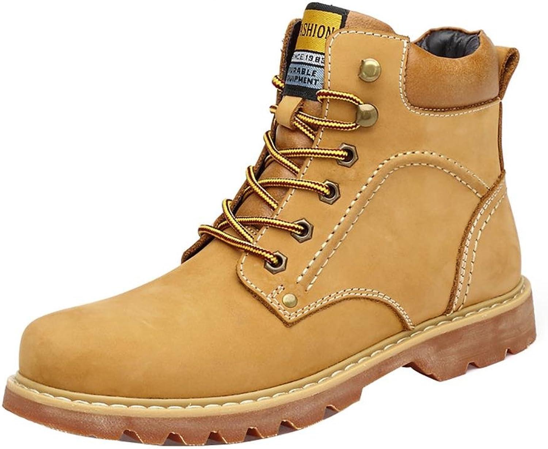 NANXZ Men 's Retro Winter Leather Keep Warm Straps High Top Martin Boots