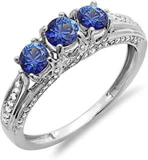 Dazzlingrock Collection 14K Round White Diamond and Blue Sapphire Ladies Vintage Bridal 3 Stone Engagement Ring, White Gold
