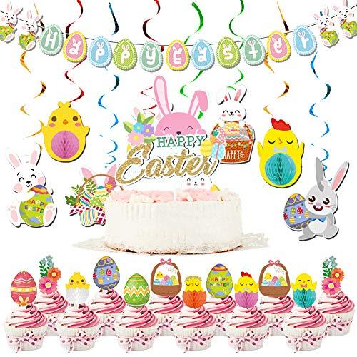 Happy - Festone pasquale da appendere, decorazione per torta, multicolore a forma di coniglietto, per bomboniere di Pasqua