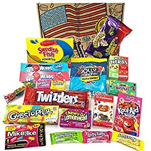 heavenly sweets american vegetarian candy hamper box - selection of sweet treats and chocolates from the usa - christmas, birthday, valentines gift idea - 20 pieces of goodness in a cool retro package Vegetarian American Sweets & Candy Selection Box – Large! Kool-Aid, Jolly Ranchers, Laffy-Taffy, Nerds & More! Classic… 61Wy5r1CjLL
