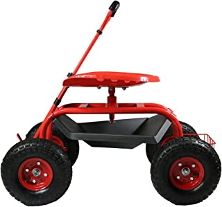 Sunnydaze Garden Cart Rolling Scooter with Extendable Steering Handle, Swivel Seat & Utility Basket, Red