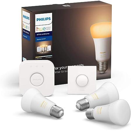 Philips Hue Pack de 3 Bombillas Inteligentes LED E27, con Bluetooth, Puente e Interruptor, Luz Blanca Cálida a Fría, Compatible con Alexa y Google Home