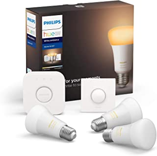 Philips Hue White Ambiance Pack de 3 bombillas LED inteligentes E27, puente de conexión y Smart Button, luz blanca de cálida a fría, compatible con Bluetooth y Zigbee, funciona con Alexa y Google Home