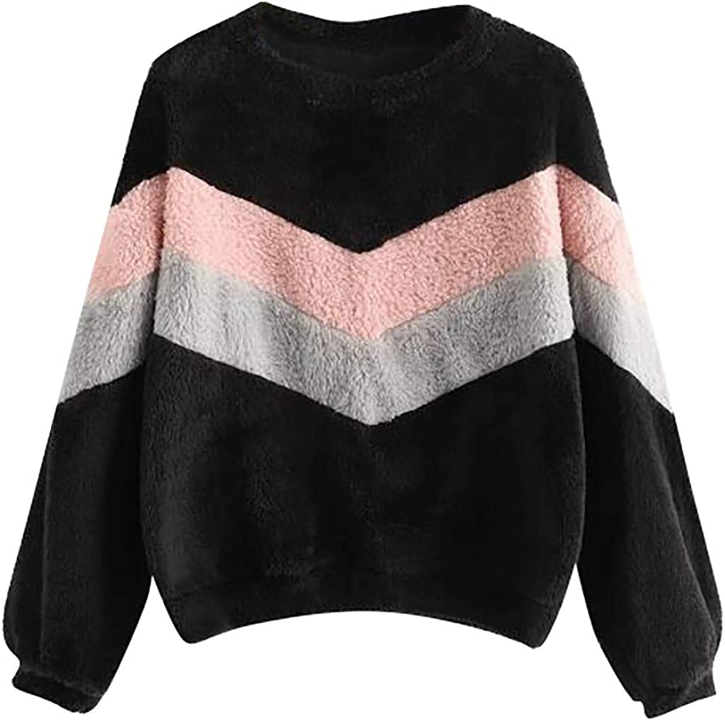 Girls' Hoodie, Misaky Colorblock Patchwork Casual Plush Long Sleeve Cropped Hooded Sweatshirt Jumper Tops