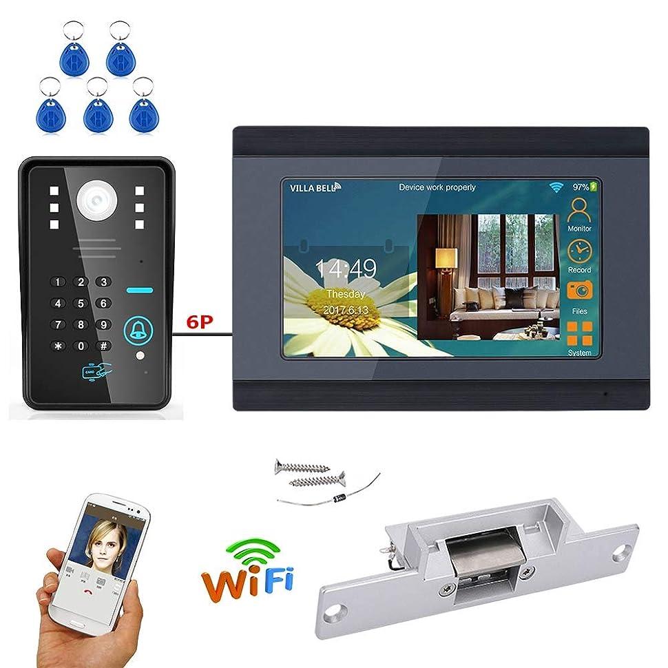 購入細菌独占7インチスマートビデオドアベル電話インターホンシステムドアベル指紋ロック解除 RFID IR カット HD 1000TVL カメラドアベル