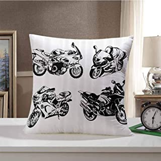 Motorcycle Decor Decorative Square Throw Pillow Covers Cartoon Motorbike Speed Race Exciting Sport Hobby Latest Model Transportation Print Cushion Case for Sofa Bedroom 18 x 18 Inch Orange Black