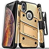 ZIZO Bolt Series for iPhone Xs Max case Military Grade Drop Tested with Tempered Glass Screen Protector, Holster, Kickstand Gold Black