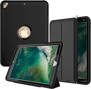 iPad Air3 Case,iPad Pro 10.5 Case, SEYMAC Three Layer Heavy Duty Shockproof Protective Case with PU Leather Stand & Magnetic Smart Auto Wake/Sleep Cover for iPad 10.5 inch 2019/2017 Black