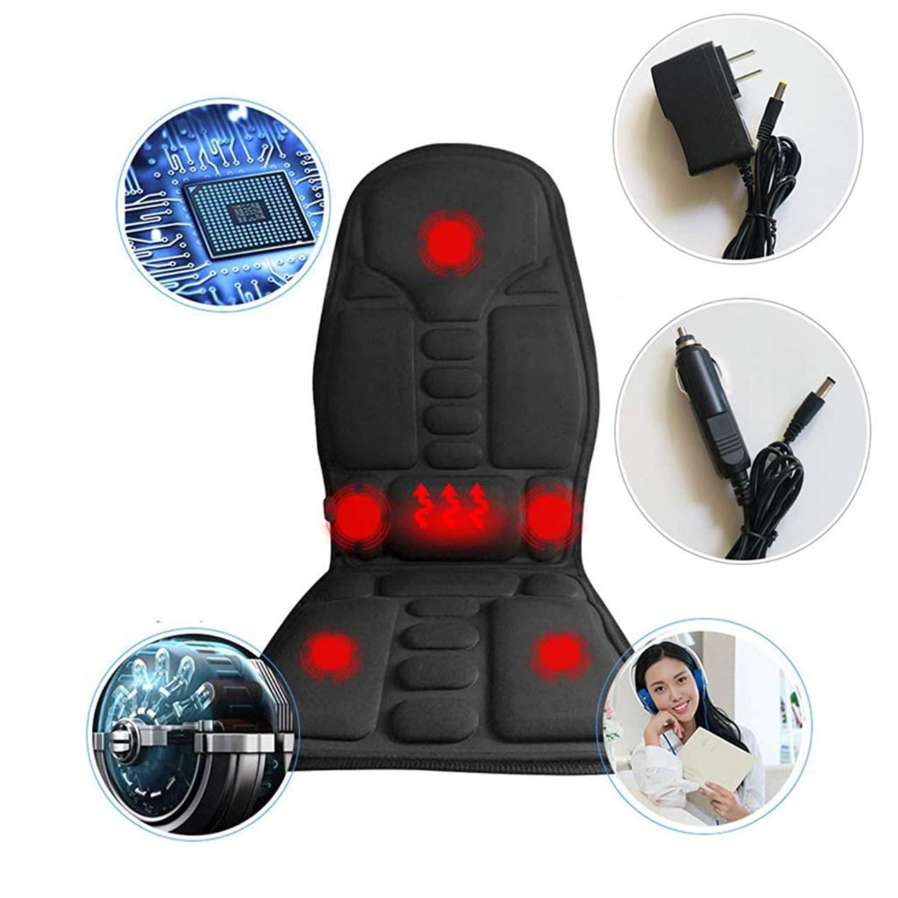 ハブ優勢帝国マッサージチェアパッド シートマッサージ、モーターマッサージクッション、熱を伴う5モーター振動マッサージシートクッション、ホームオフィスのカーシートの使用のために背中の肩や首の筋肉の痛みを和らげる バックマッサージャー