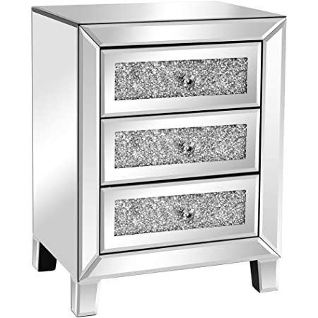 VINGLI Mirrored Nightstand with 3 Drawers Modern End Table Bed Side Table with Mirrored Finish, 17.72-inch W x 13.78-inch D x 23.62-inch H, Silver